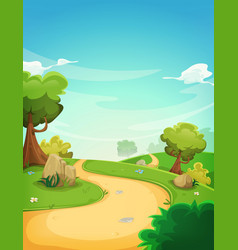 Spring landscape background with path vector