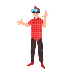Teen learns in virtual reality glasses vector