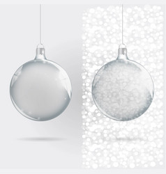 template of glass transparent christmas ball vector image