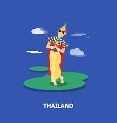 Thai dance famous traditions in thailand vector