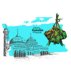 Traditional indonesian food and mosque hand vector