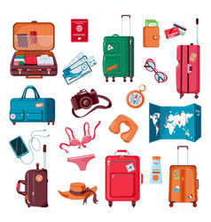 travel stuff cartoon luggage clothes map vector image