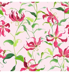 Tropical Leaves and Floral Background - Fire Lily vector image