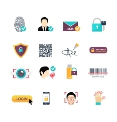 Verification secure methods flat icons set vector