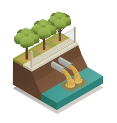 Wastewater treatment ecological isometric vector