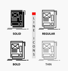 wire framing web layout development icon in thin vector image