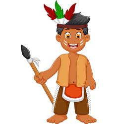 funny man indian tribal cartoon posing vector image vector image