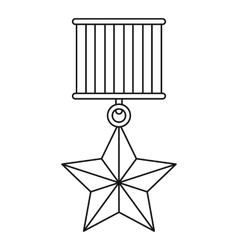 Medal star icon outline style vector