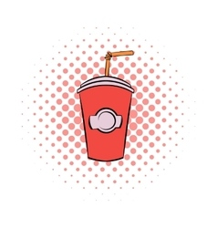 Red cardboard cup with a straw comics icon vector image