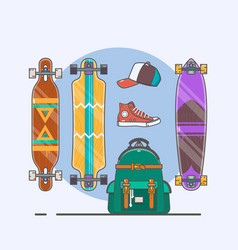 set of longboards and skateboards of various vector image
