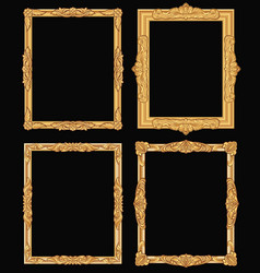 vintage gold ornate square frames isolated retro vector image vector image