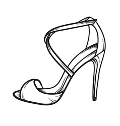 Woman shoes summer heels elegant hand drawn vector image