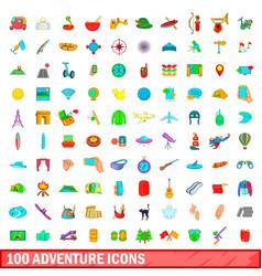 100 adventure icons set cartoon style vector image vector image