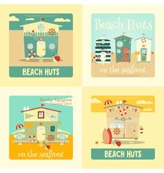 beach huts placard vector image vector image