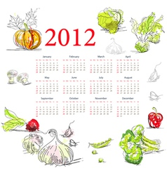 calendar for 2012 with vegetable vector image