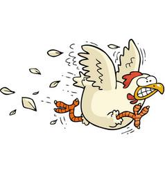 cartoon running chicken vector image vector image