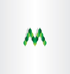 green leaves letter m logotype symbol vector image vector image