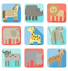 Icons wild animals of africa vector image vector image
