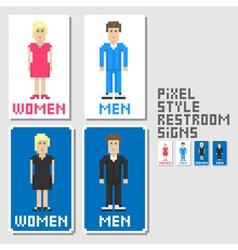 restroom signs pixel art style vector image vector image