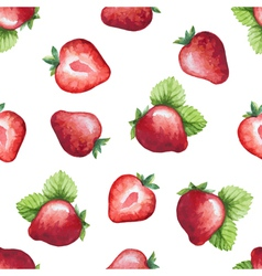 Seamless pattern watercolor fruit strawberry vector image vector image
