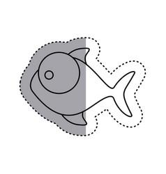 sticker silhouette fish aquatic animal icon vector image vector image