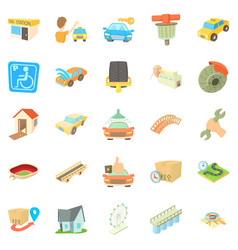 city elements icons set cartoon style vector image