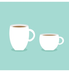 Coffee cup mug set Blue background Flat modern vector image