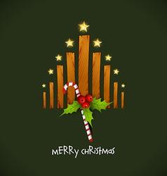 creative christmas tree with wood vector image