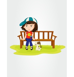 Girl sitting with dog vector image