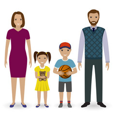 happy young family standing together father vector image vector image
