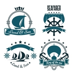 Marine sport yacht club design with sailing ships vector image vector image