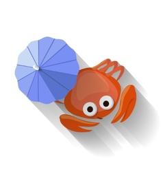 Modern Flat Design Crab Icon vector image