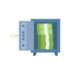 Opened safe with money inside vector image vector image