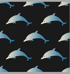 seamless pattern with blue dolphins vector image