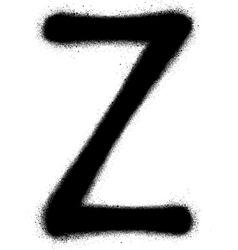 sprayed Z font graffiti in black over white vector image vector image