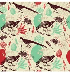 Vintage Birds Wilderness Pattern vector image