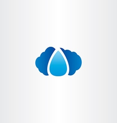 cloud and raindrop logo icon vector image vector image