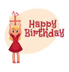 Little girl in red dress holding birthday gift vector