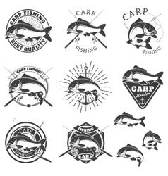 Set of carp fishing labels Design elements for vector image vector image