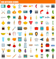 100 kitchen icon set flat style vector image