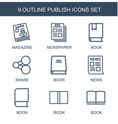 9 publish icons vector
