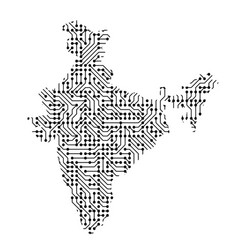 abstract schematic map of india from the black vector image