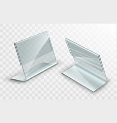 Acrylic table displays set glass or plastic card vector