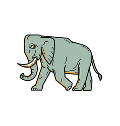 African elephant walking mono line art vector