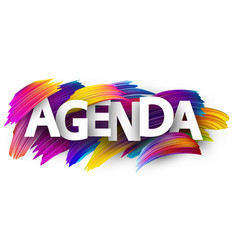 Agenda sign with colorful brush strokes vector