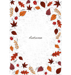 autumn leaves and mushrooms on white background vector image