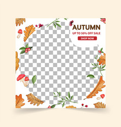 Autumn social media post templatespost square vector