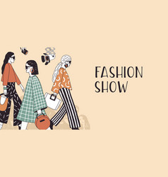 banner template for fashion show with top models vector image