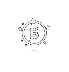 bitcoin coin with stars and circle abstract vector image