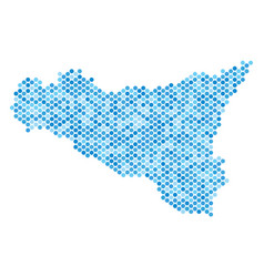 blue dotted sicilia map vector image